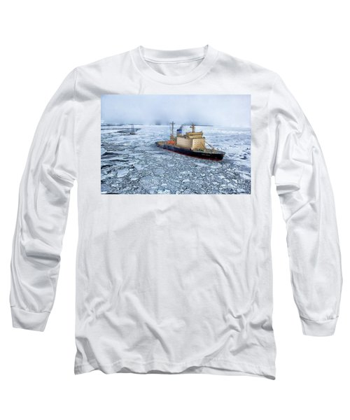 Long Sleeve T-Shirt featuring the photograph Arctic Sea Ocean Water Antarctica Winter Snow by Paul Fearn
