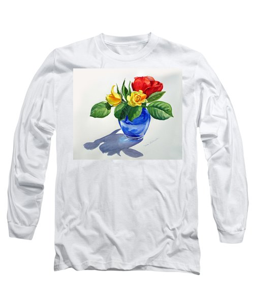 Long Sleeve T-Shirt featuring the painting Roses by Irina Sztukowski