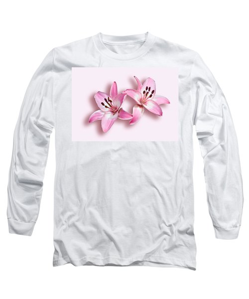 Spray Of Pink Lilies Long Sleeve T-Shirt