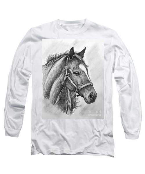 Long Sleeve T-Shirt featuring the drawing Zenyatta by Patrice Torrillo