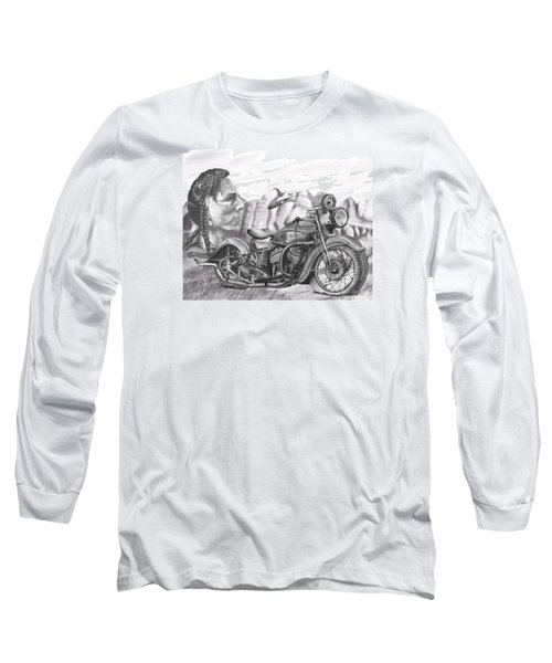 Long Sleeve T-Shirt featuring the drawing 39 Scout by Terry Frederick