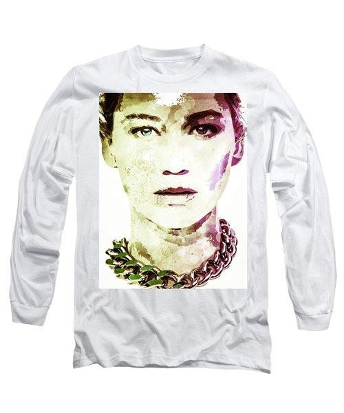 Long Sleeve T-Shirt featuring the digital art Jennifer Lawrence by Svelby Art