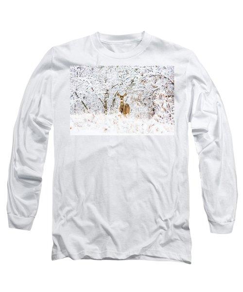 Doe Mule Deer In Snow Long Sleeve T-Shirt