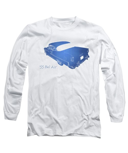 Blue Long Sleeve T-Shirt featuring the photograph '55 Bel Air by Aaron Berg