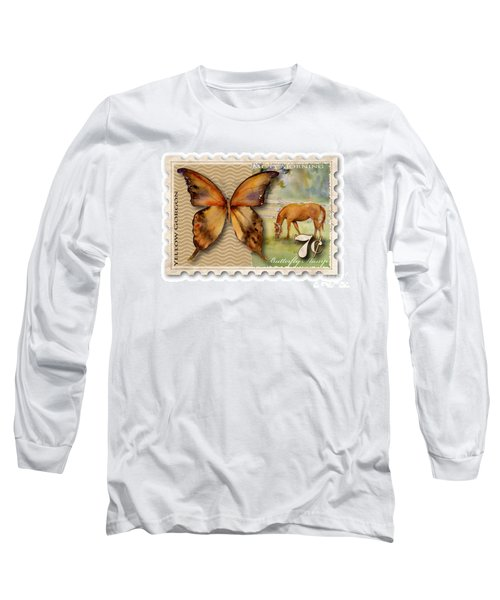 7 Cent Butterfly Stamp Long Sleeve T-Shirt by Amy Kirkpatrick