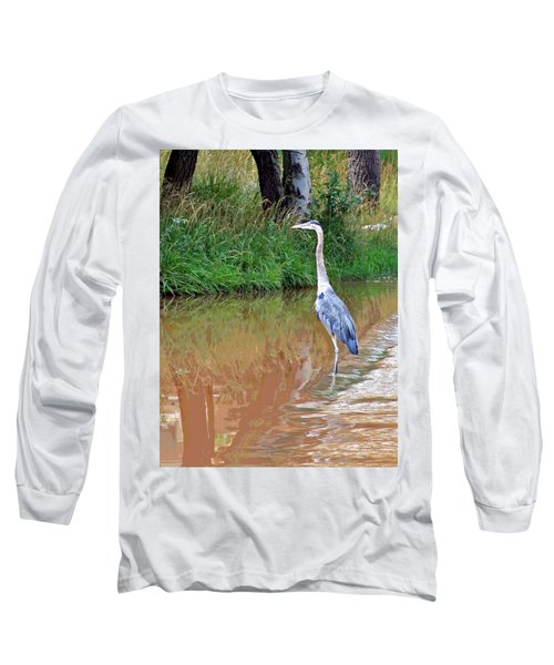 Blue Heron On The East Verde River Long Sleeve T-Shirt