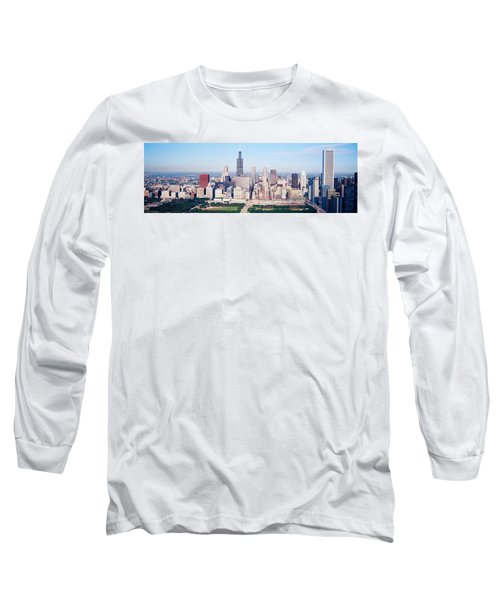 Aerial View Of Buildings In A City Long Sleeve T-Shirt by Panoramic Images