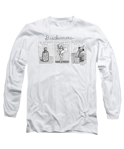 A 3 Panel Cartoon Of Disclaimers Involving A Jar Long Sleeve T-Shirt