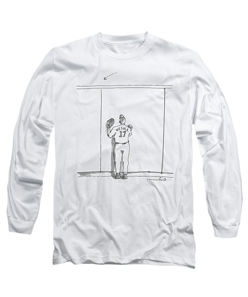 A Baseball Player Watches A Ball Fly Over A Wall Long Sleeve T-Shirt
