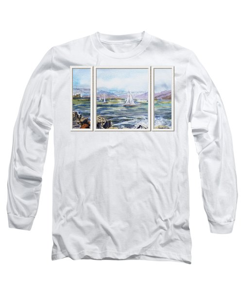 A Bay View Window Rough Waves Long Sleeve T-Shirt