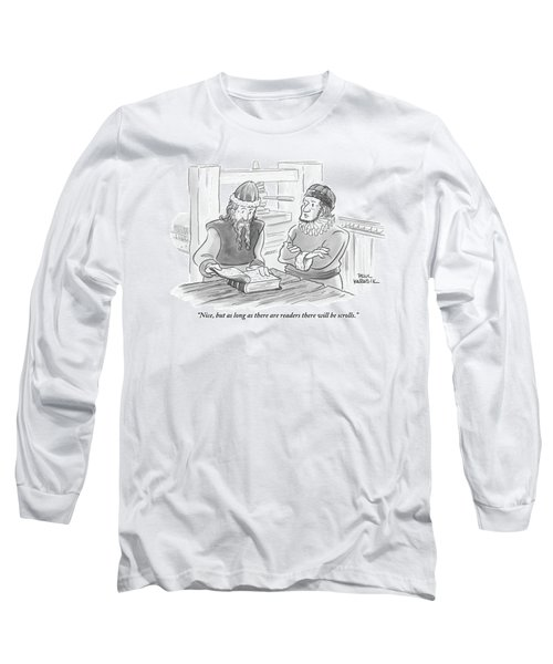 A Bearded Wise Man Looks Over A Book Long Sleeve T-Shirt