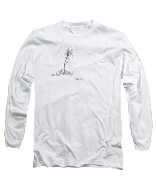 A Bee Flying Away From A Daisy After Pollination Long Sleeve T-Shirt