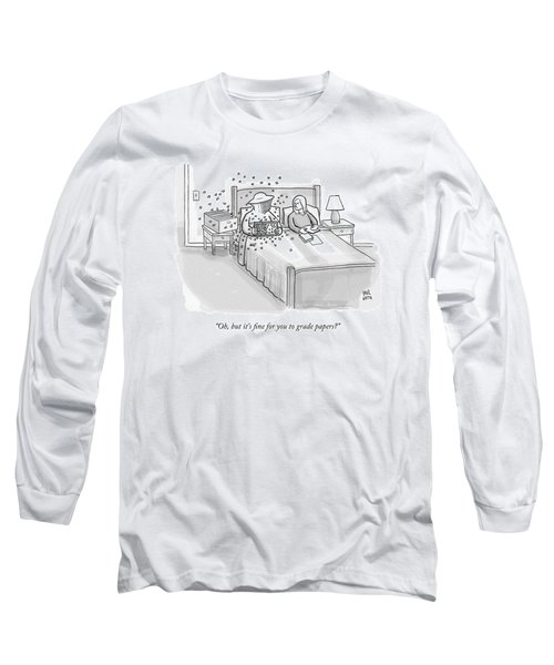 A Beekeeper Surrounded By Bees Is Sitting In Bed Long Sleeve T-Shirt
