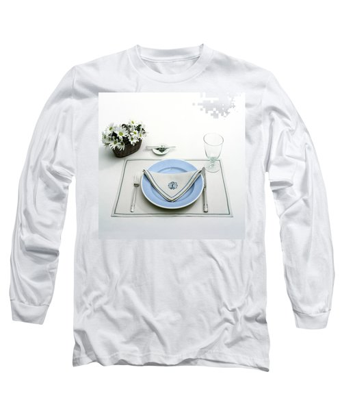 A Blue Table Setting Long Sleeve T-Shirt