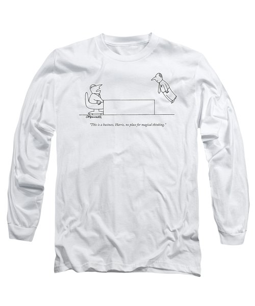 A Boss Behind A Desk Berates His Inferior Long Sleeve T-Shirt