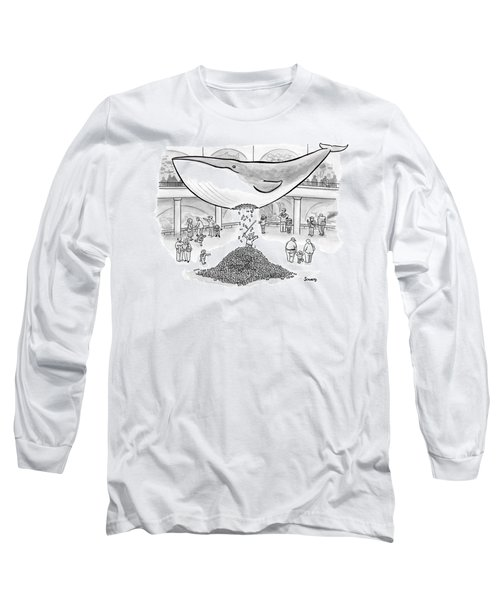 A Boy Hits The Giant Whale In The Museum Long Sleeve T-Shirt