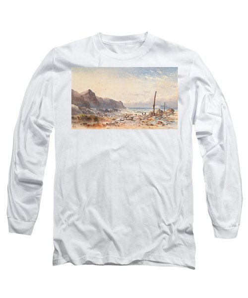 A Breezy Day With Fisherfolk On The Foreshore Long Sleeve T-Shirt