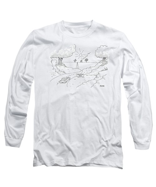 A Car On A Winding Road Heads For A Straight Road Long Sleeve T-Shirt