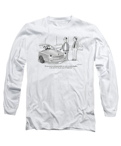 A Car Salesman Gives A Pitch To A Prospective Long Sleeve T-Shirt