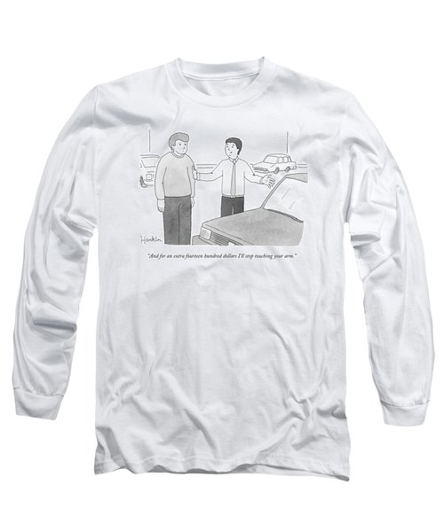 A Car Salesman Speaks With A Customer Whilst Long Sleeve T-Shirt