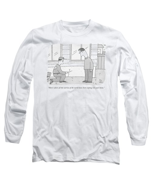 A Carpenter Examines A Crack On The Base Long Sleeve T-Shirt