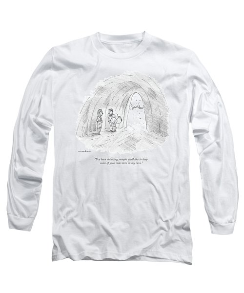 A Cavewoman Talks To A Caveman Who Is Leaving Long Sleeve T-Shirt