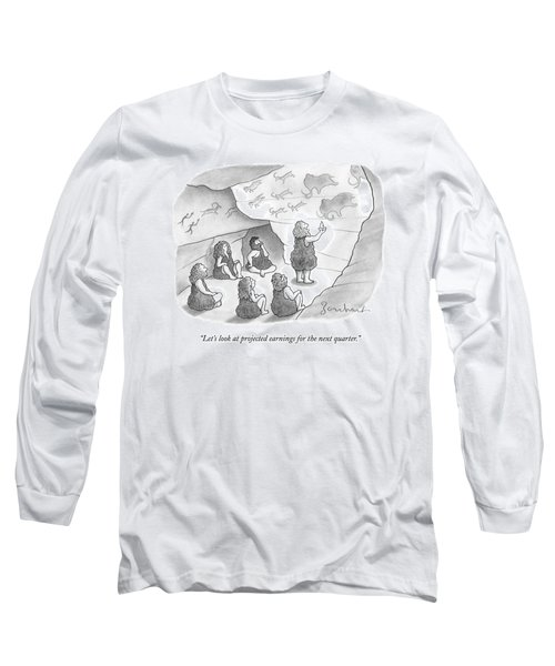 A Circle Of Cavemen Sit Around One Caveman Who Long Sleeve T-Shirt