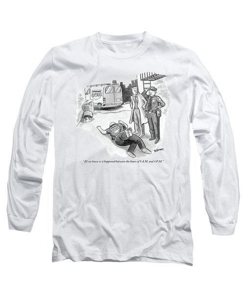 A Cop And A Detective Stand Over The Face-down Long Sleeve T-Shirt