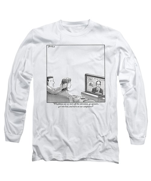 A Couple Are Sitting On A Couch Late At Night Long Sleeve T-Shirt