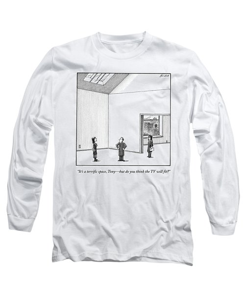 A Couple Looks At A Huge Apartment With A Real Long Sleeve T-Shirt