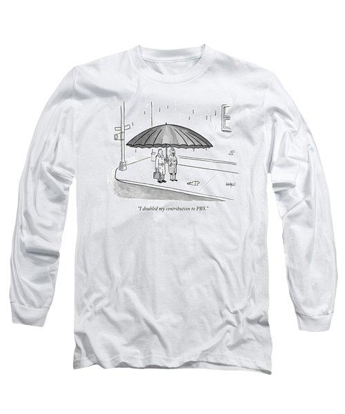 A Couple Under A Gigantic Umbrella On A City Long Sleeve T-Shirt