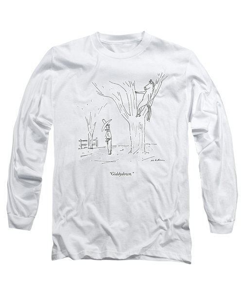 A Cowboy Talks To His Horse In A Tree Long Sleeve T-Shirt