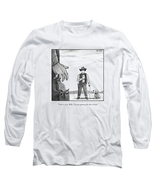 A Cowboy With A Dog Speaks To His Opponent Long Sleeve T-Shirt