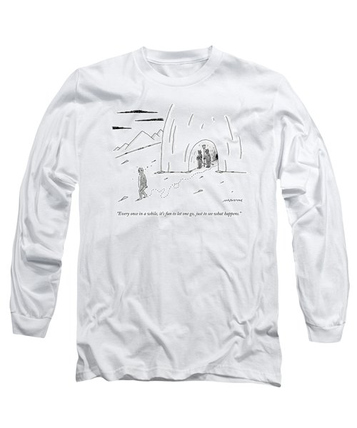 A Dazed, Naked Man Leaving Hell While The Devil Long Sleeve T-Shirt