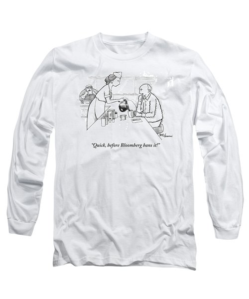 A Diner Waitress Pours Coffee Into A Man's Cup Long Sleeve T-Shirt