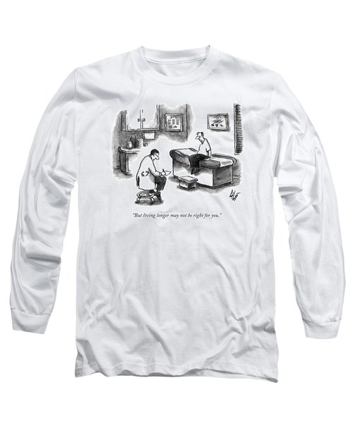 A Doctor Sitting On A Stool And Writing On A Pad Long Sleeve T-Shirt