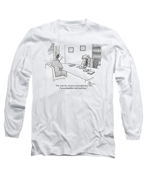 A Dog Dressed In A Suit Sits Behind A Desk Long Sleeve T-Shirt
