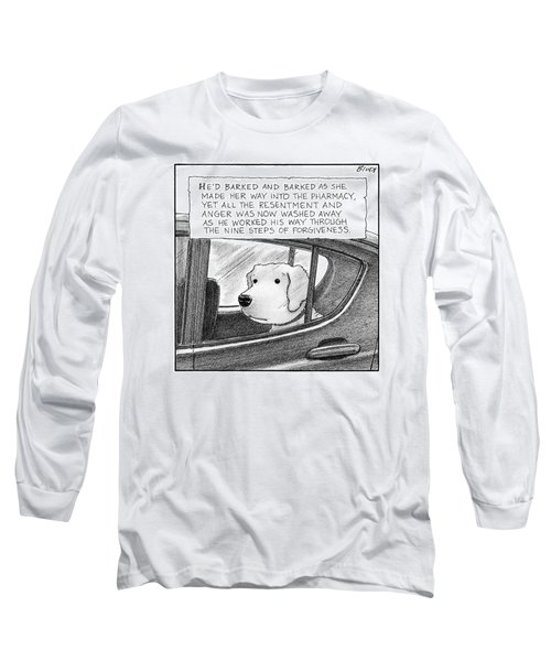 A Dog Looks Out Of A Car Window.  Title: He'd Long Sleeve T-Shirt