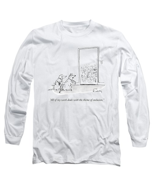 A Dog Speaks To Another Dog In Front Of A Closed Long Sleeve T-Shirt