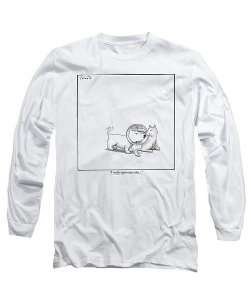 A Dog With A Neck Cone Is Having His Head Long Sleeve T-Shirt