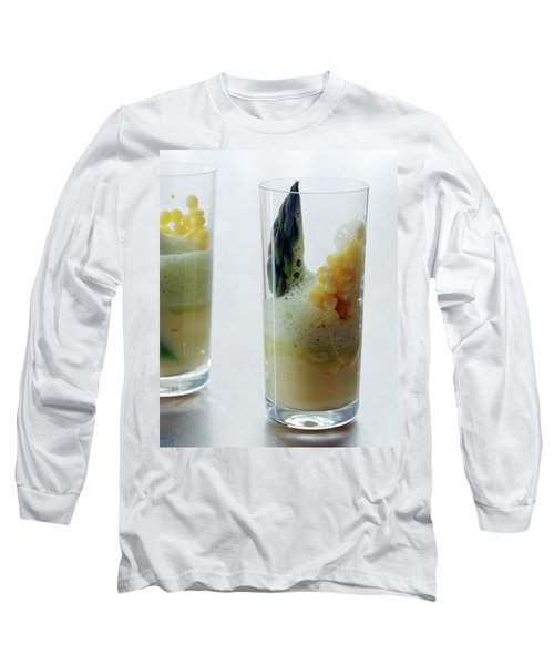 A Drink With Asparagus Long Sleeve T-Shirt by Romulo Yanes