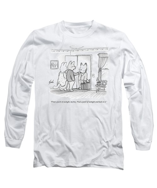 A Family Of Three Cats In A House Long Sleeve T-Shirt