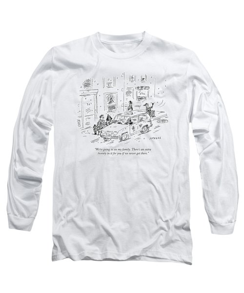A Family Talks To A Taxi Driver Before Getting Long Sleeve T-Shirt