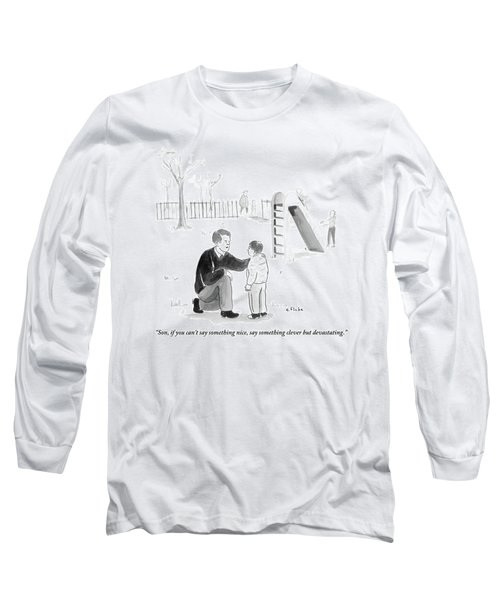 A Father Encourages His Son At The Playground Long Sleeve T-Shirt