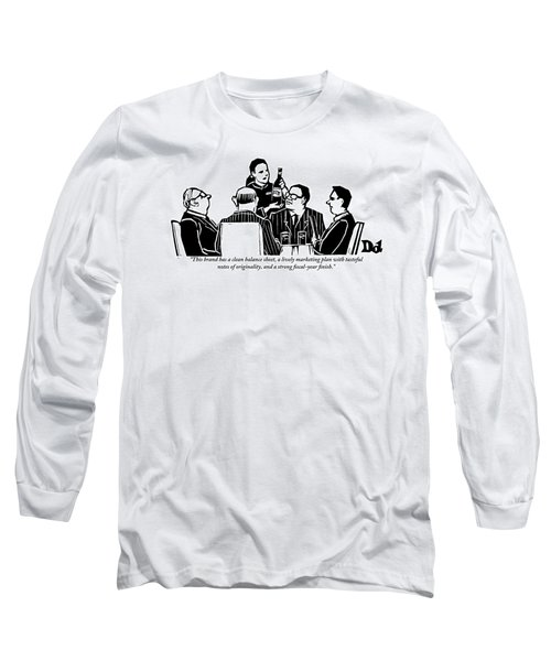 A Female Sommelier Presents A Bottle Of Wine Long Sleeve T-Shirt