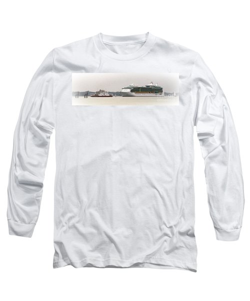 Long Sleeve T-Shirt featuring the photograph A Ferry A Ship And Some Yachts by Linsey Williams