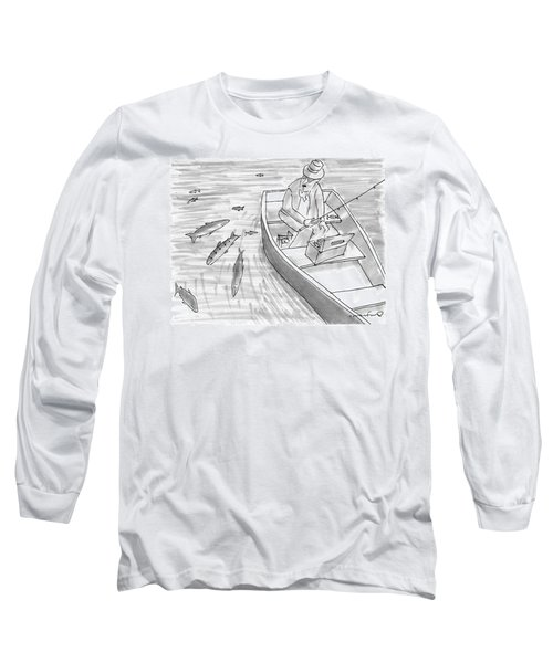 A Fisherman On A Rowboat Looks At The Fish Long Sleeve T-Shirt