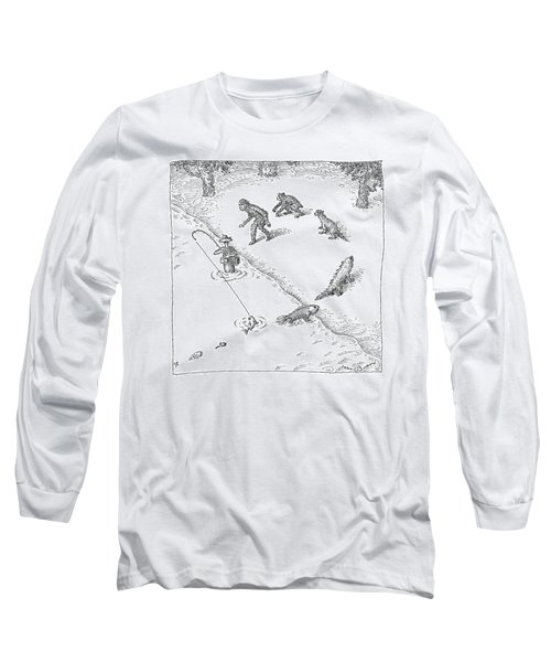 A Fisherman Wading In The Water  Catches A Fish Long Sleeve T-Shirt