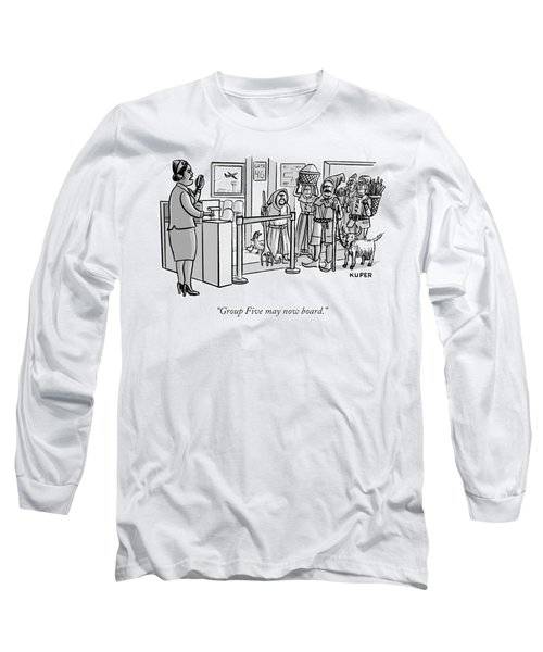 A Flight Attendant About To Board A Group Long Sleeve T-Shirt by Peter Kuper