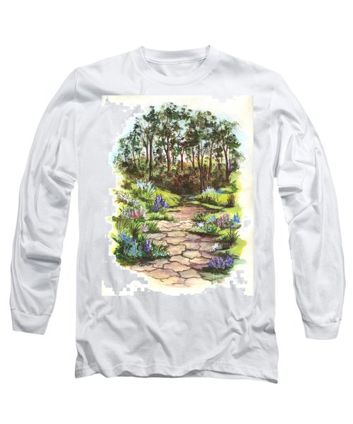 Long Sleeve T-Shirt featuring the painting Down The Garden Pathway  by Carol Wisniewski